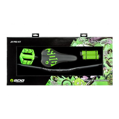 Kit Junior Pro (selle, guidon, grips, pédales, entretoise) - vert fluo